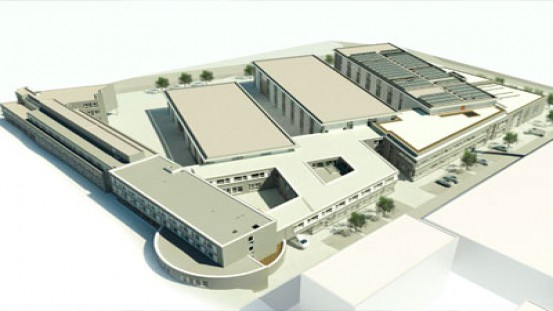 Drawing of the building complex scheduled to 2022. The new buildings for the Plastics Innovation Center 4.0 will be built on the right-hand area. (Figure: aig+ Architekten)