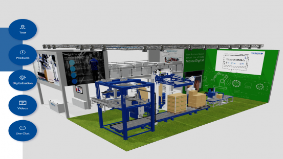 Mosca is using a virtual exhibition stand to offer visitors an up-to-date overview of automation options and digitalisation concepts at the end of the packaging line.