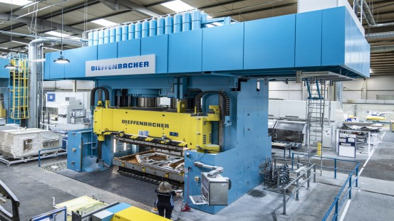 One of the two DIEFFENBACHER CompressEco presses at the Creative Composites production site in Lisburn, Northern Ireland, UK.