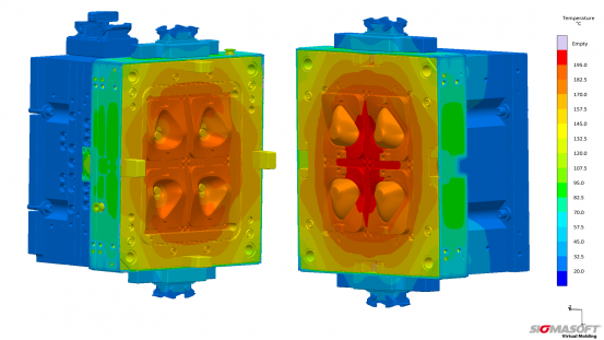 The fixed (left) and the moving platen (right) at 180 °C after stabilization within ten cycles.